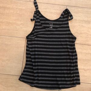 Striped tank with knot ties at shoulder